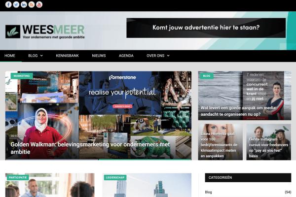 Screenshot van de weesmeer website